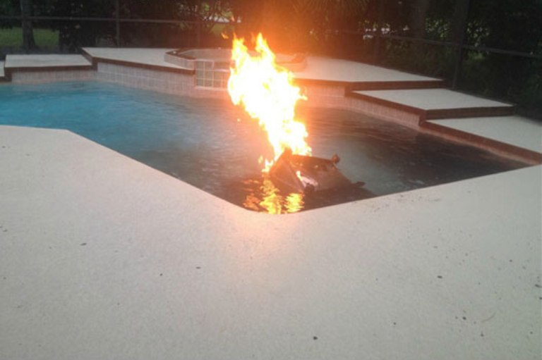 Funny Grill On Fire Swimming Pool Grand Vista Pools